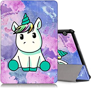 ZhuoFan Funda Huawei Mediapad T5 10 Case Cuero PU Silicona Magnetica Función de Soporte y Auto-Desbloquear Cover Protector Piel Compatible con Huawei Mediapad T5 10.1 Pulgadas Unicornio