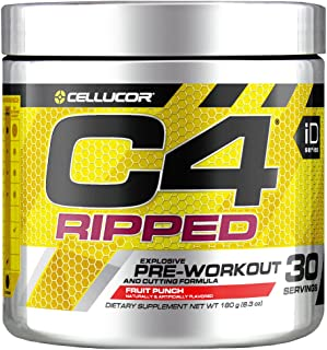C4 Ripped Pre Workout Powder Fruit Punch - Creatine Free + Sugar Free Preworkout Energy Supplement for Men & Women - 150mg...