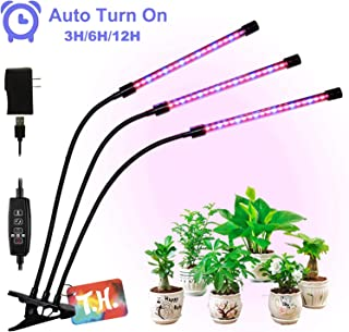 T.H. LED Grow Lights for Indoor Plants, 60 LED, Built-in Timer 3/6/12h, Auto On & Off (Growing Light) Triple Head Plant Growing Lamps