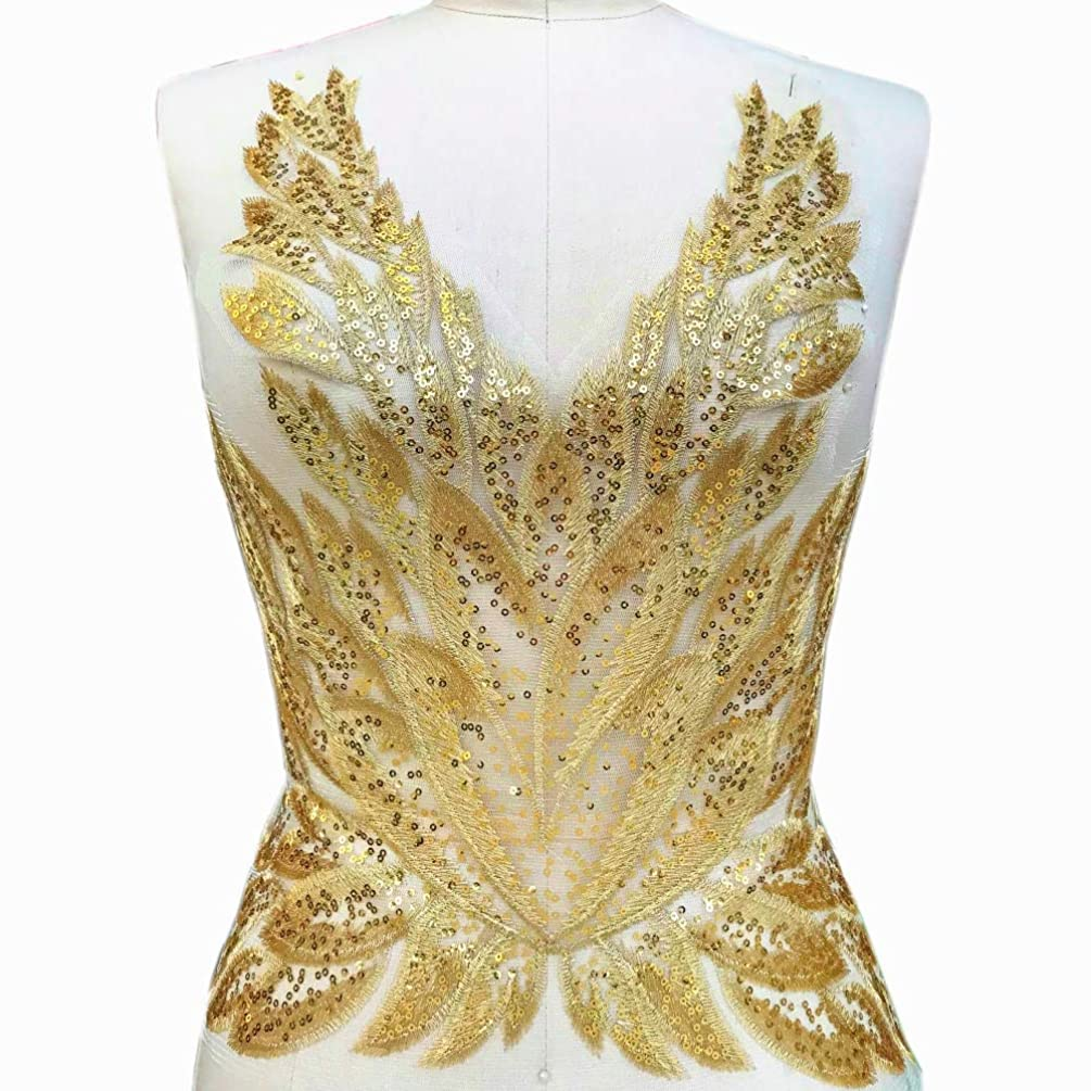 High-end Gold Color Sequins Lace Applique Patch, Sewing for Wedding Dress Women Evening Costumes Gowns DIY Decoration
