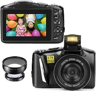 デジタルカメラ デジカメ コンパクトカメラ ビデオブログウェブYouTubeカメラ HD2.7K録画 48MP 4800万画素 4倍デジタルズーム 3.0インチスクリーン 手ぶれ補正 伸縮可能なフラッシュ 予備バッテリー 初心者向け