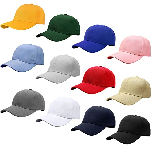 Falari Wholesale 12-Pack Baseball Cap Adjustable Size Velcro Closed Plain  Blank Solid Color eb1010441259