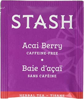 Stash Tea Acai Berry Herbal Tea 100 Count Tea Bags in Foil (packaging may vary) Individual Herbal Tea Bags for Use in Teapots Mugs or Cups, Brew Hot Tea or Iced Tea