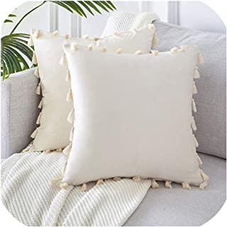Soft Velvet Throws Pillowcases Decoration Cushions Covers Square with Tassel for Sofa Bed Car Home Wedding Throw Pillow,45cm x 45cm(18x18in),Cream-Set of 2
