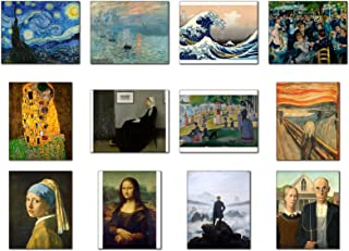 Wish Pub - 世界で最も有名な絵画レプリカ/名画複製画/アートポスター/12枚のセット(額なし)/ 20.4 x 25.4 センチ