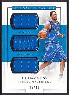 2016-17 Panini National Treasures Basketball Rookie Triple Jersey #13 A.J. Hammons 05/49 Dallas Mavericks