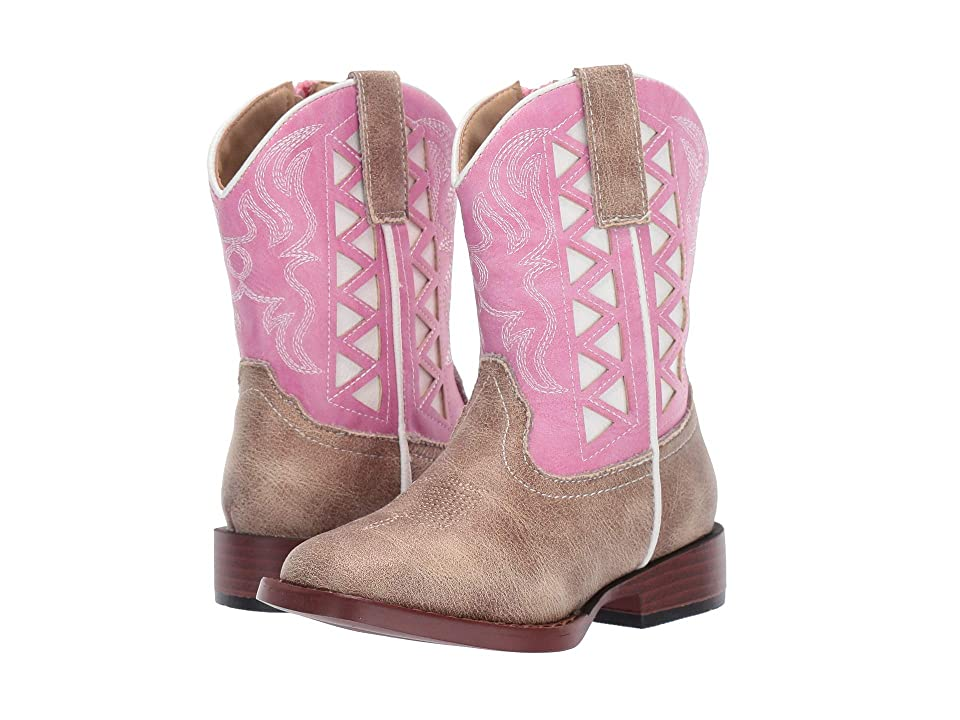 Roper Kids Askook (Toddler) (Tan Vamp/Pink Embroidered Shaft) Cowboy Boots