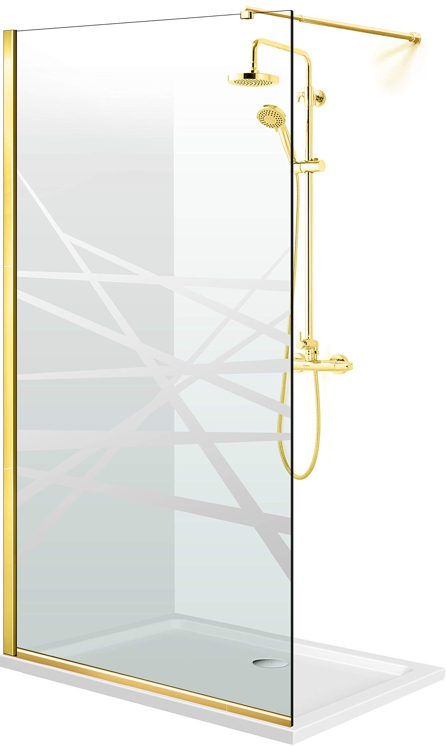Modern Glass Art - Mampara de ducha (cristal templado de 8 mm, nano, acabado de latón dorado), diseño de Leroy, transparente: Amazon.es: Bricolaje y herramientas