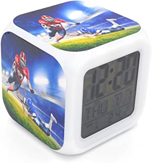 Cointone Led Alarm Clock Rugby American Football Sport Design Creative Desk Table Clock Glowing Electronic colorful Digital Alarm Clock for Unisex Adults Kids Toy Birthday Present Gift
