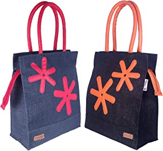 Foonty Exclusive Star Daily Use Jute Lunch Bags(Pack of 2,Multicolor,FFFWB6013D)