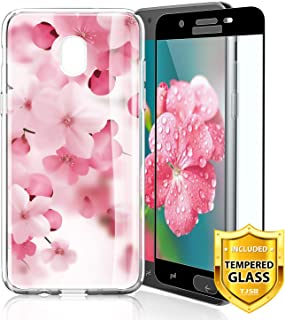 TJS Galaxy J7 2018/J7 Refine/J7 Star/J7 Eon/J7 TOP/J7 Aero/J7 Crown/J7 Aura/J7 V 2nd Gen Case, with [Full Coverage Tempered Glass Screen Protector] Slim Transparent Clear Soft Skin (Cherry Blossoms)