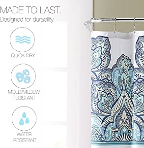 Blue Teal Turquoise White Fabric Shower Curtain: Eclectic Floral Geometric Design