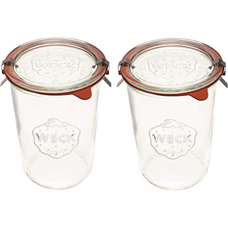 Weck Canning Jars 743 - Weck Mold Jars made of Transparent Glass - Eco-Friendly Canning Jar - Storage for Food, Yogurt with Air Tight Seal and Lid - 3/4 Liter Tall Jars Set - Set of (2 Jars)
