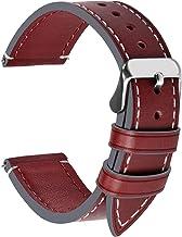 Fullmosa Wax Correa Reloj Piel,6 Colores para Correa Huawei Samsung, Correa/Banda/Band/Pulsera/Strap de Recambio/Reemplazo de 14mm 16mm 18mm 20mm 22mm 24mm, Rojo + Hebilla de Plata,22mm