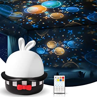 Star Night Light Projector with Timer and Remote Control, USB Rechargeable Starry Galaxy Night Light Projector with 8 Musi...