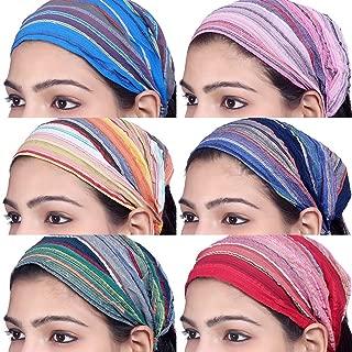 Sarjana Handicrafts Lot 10 Pieces Womens Mens Cotton Headband Striped Hairband Bandana