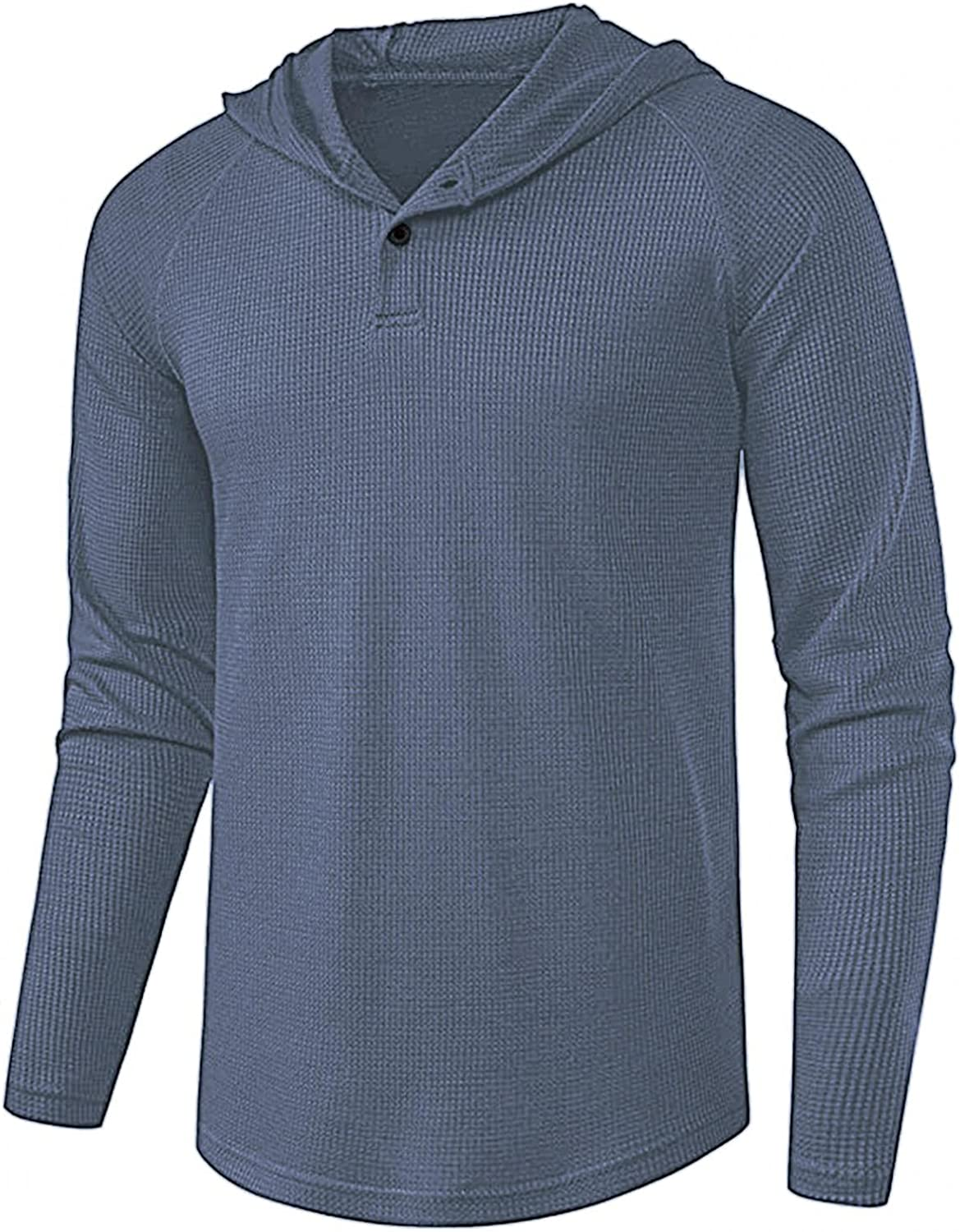 Men's Long Sleeve Basic Waffle Pullover Henl Sale special price Color Rare T-Shirt Solid