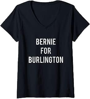Womens Bernie Sanders for Burlington Mayor Retro Campaign V-Neck T-Shirt