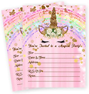 Unicorn Rainbow Magic Pink Birthday Slumber Party Girl Invitations Decoration 20 Count with Envelopes