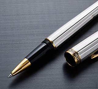 Xezo Diamond-cut Fine Rollerball Pen Platinum and 18K Gold Plated with Screw-On Cap, Limited Edition of 500 (Incognito Platinum R)