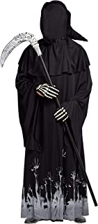 Spooktacular Creations Grim Reaper Scary Skeleton Halloween Costumes with Glow Pattern for Men