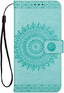 DENDICO Case for Huawei Mate Leather Wallet Case with Magnetic Closure and Card Holder  Slim Protector Shockproof Case for Huawei Mate Mint Green