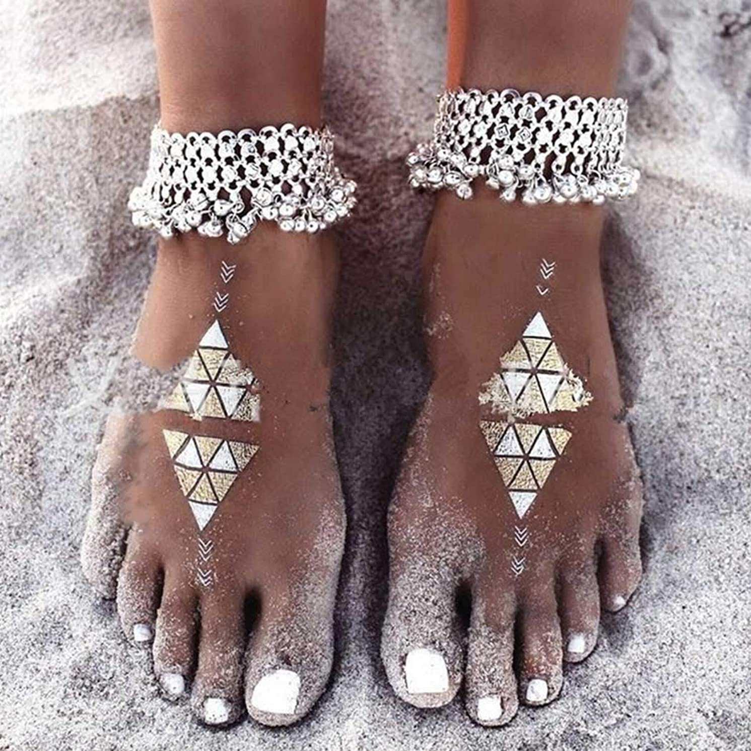 Nicute Boho Tassel Anklet Bell Ankle Bracrlets Silver Foot Jewelry for Women and Girls