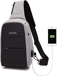 Sling Bag Anti-theft Causal Daypacks Crossbody Backpack For Men/Women Waterproof Shoulder Bag with USB Charging Port Grey