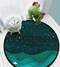 Area Round Rug Home Decor Baby Crawling Mats Non-Slip Pad Starry Ocean, teal sailboat watercolor sea waves night Bathroom Living Room Bedroom Kitchen Soft Floor Mat Outdoor Rug