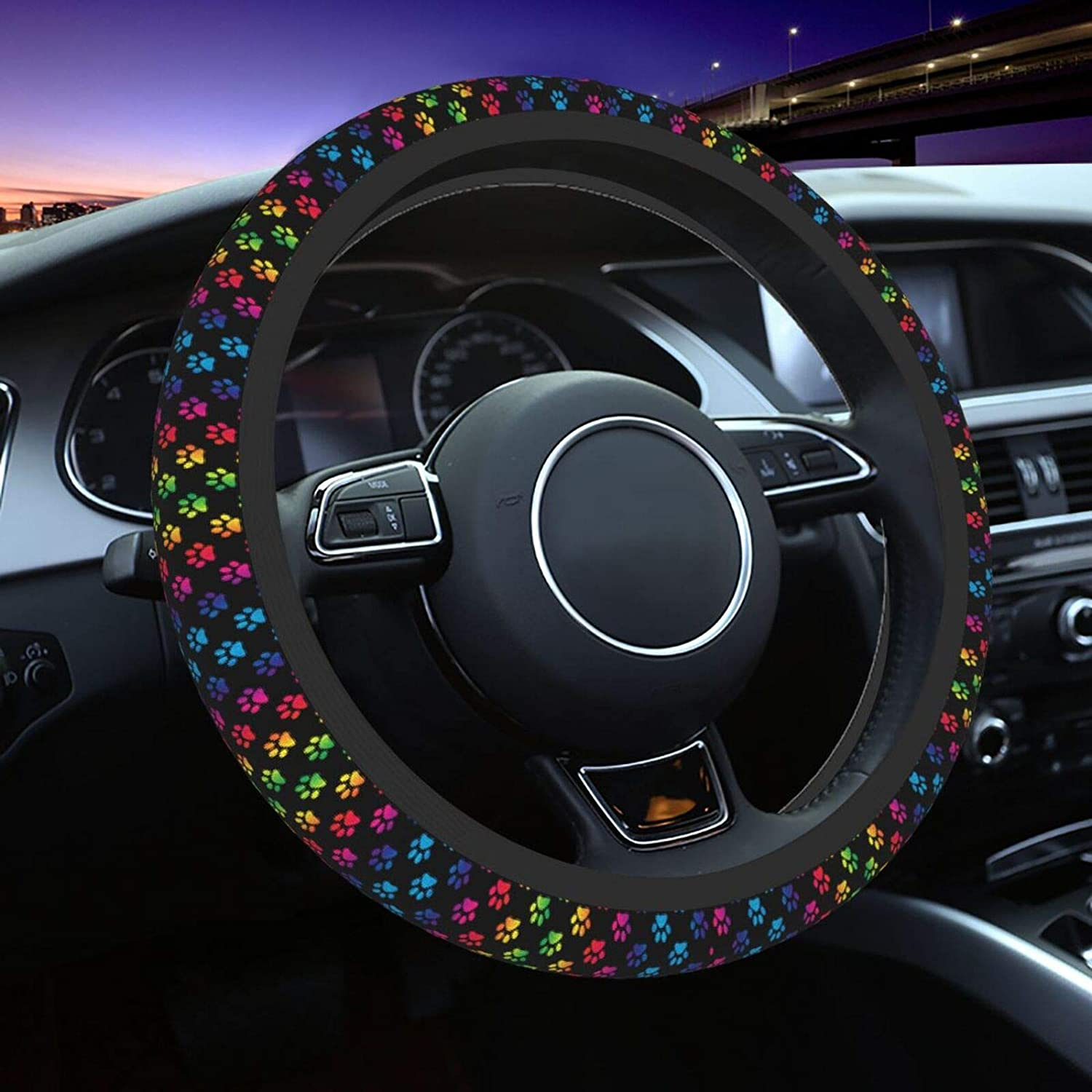Jedenkuku Rubber Car Decor Women Men Girls Steering Wheel Cover Printing Protector Fit 15 Inch Automotive Interior Accessories