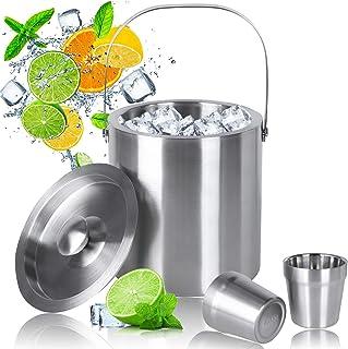 MVPower Cubitera de Acero Inoxidable con Vaso de Acero, Cubo para Hielo de Acero Inoxidable Cubo de Hielo Aislamiento de Doble Pared, 2.5 L Conveniente para Cerveza Refrigerada