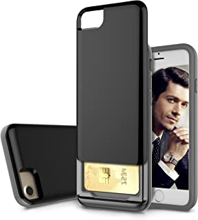 iPhone 8 / iPhone 7 Case, Style4U Slim Shock-Resistant Hybrid Armor Case with Credit/ID Card Compartment for Apple iPhone 8 and iPhone 7 with 1 Stylus [Black]