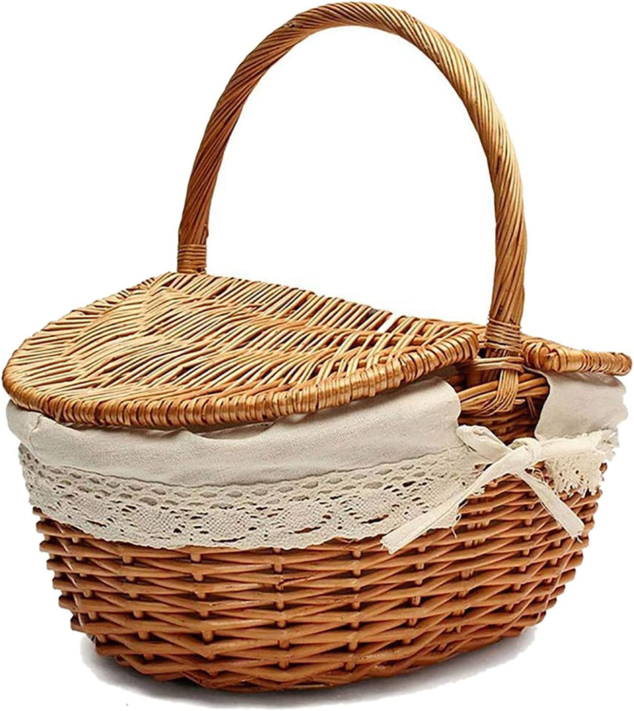 GZP Handmade Wicker Popular popular Basket with Max 51% OFF Camping Picnic Handle Ba