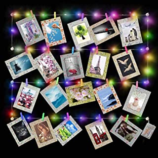 PETAFLOP 20 Pcs Paper Picture Frames 4x6 with 40 Multicolor LED String Lights Wood Photo Clips for Home Party Event Bedroom Decoration, Flower