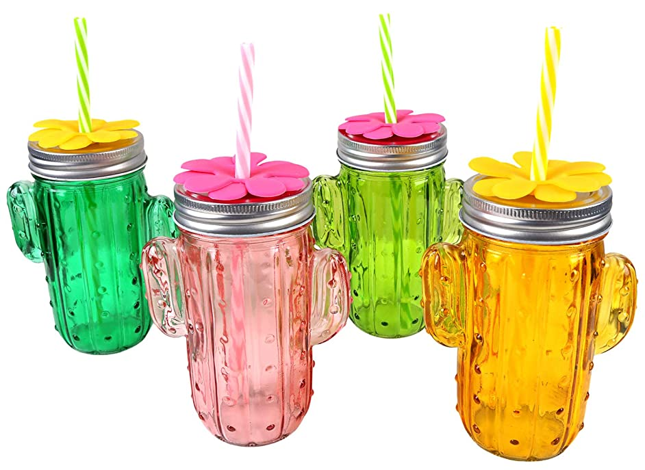 URBAN DEN |GLASS BEVERAGE DISPENSER | DRINK DISPENSER FOR PARTIES | 4 AND 5 PC SETS | 4PC CACTUS CUP SET