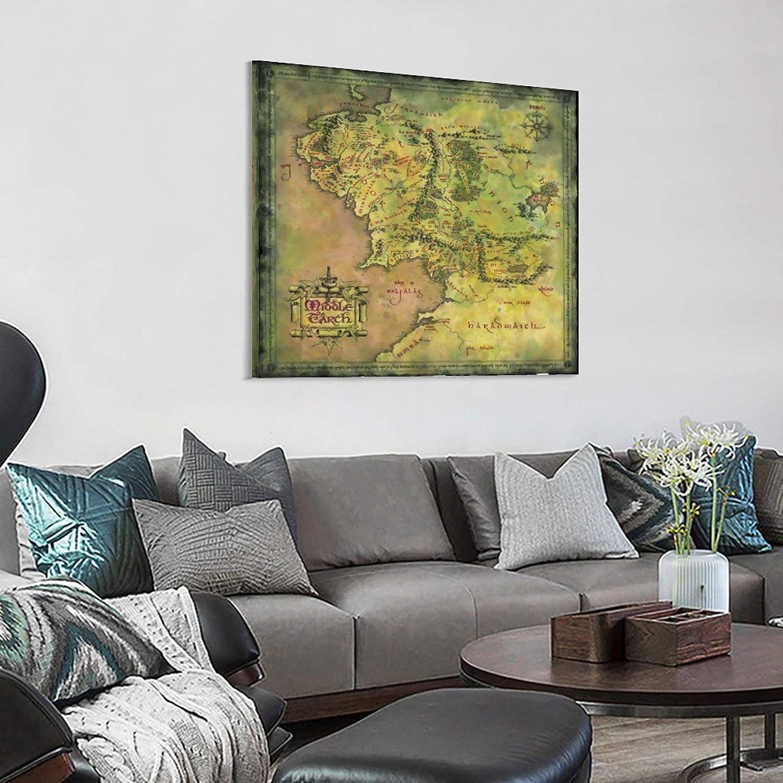 lienzo para decoraci/ón de la habitaci/ón regalo 30 x 30 cm BUJI P/óster de mapa de la Tierra Media de El Se/ñor de los Anillos