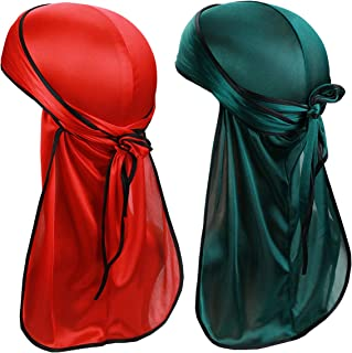 ASHILISIA Silky Soft Durag (2PCS/3PCS) with Extra Long Tail and Wide Straps Headwrap Du-Rag for 360 Waves