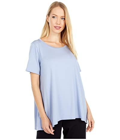 Eileen Fisher Jewel Neck Short Sleeve Top with High-Low Hem (Larkspur) Women