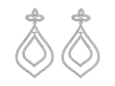 Nina Pave Leaf Drop Earrings (Rhodium/White CZ) Earring