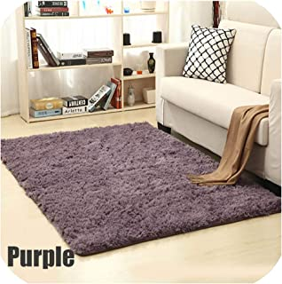 Mo Duo Soft Shaggy Carpet for Living Room European Home Warm Plush Floor Rugs Fluffy Mats Kids Room Faux Fur Area Rug Living Room Mats,Purple,60x160cm