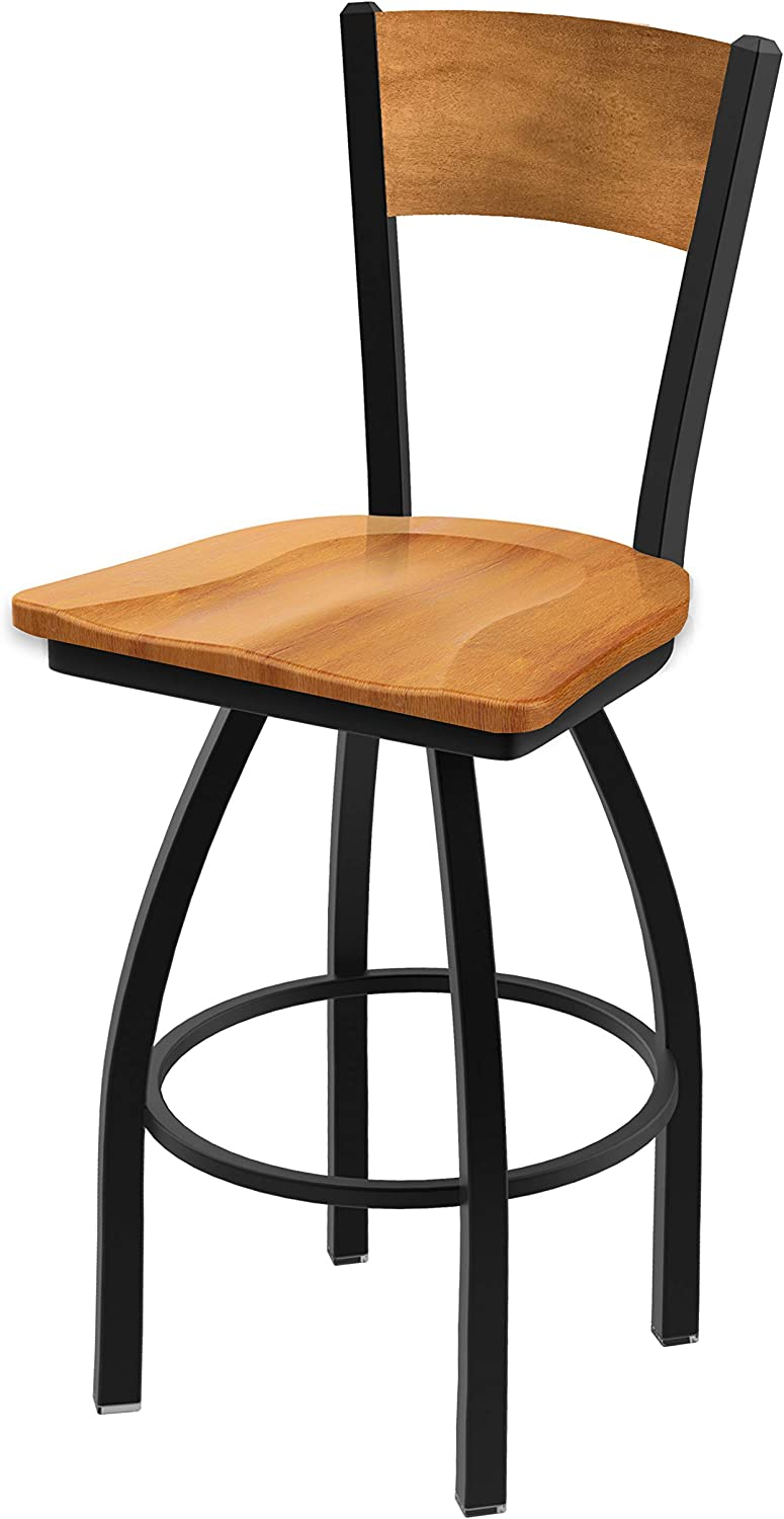 L038-25 Black Wrinkle Montreal Canadiens Swivel Bar Stool with Laser Engraved Back by The Holland Bar Stool Co