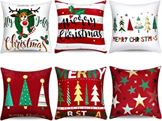 Boao 6 Pieces Christmas Pillow Cover Merry Christmas Throw Cushion Covers Tree Reindeer Star Pillow Case for Party Home De...