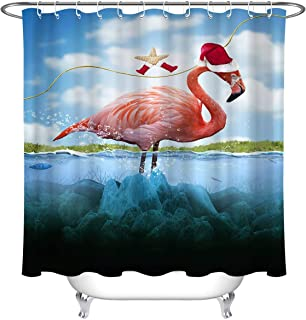 Bathroom Accessories Set Durable Polyester Fabric Shower Curtains 72'' x 72'', Christmas Tropical Starfish Flamingo Dressed in Stockings Santa Hats Waterproof Bathtub Curtains with Hooks