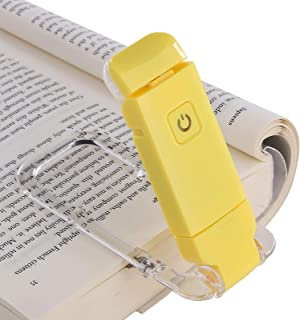 DEWENWILS USB Rechargeable Book Reading Light, Warm White, Brightness Adjustable, LED Clip on Book Lights for Reading in Bed, Perfect for Bookworms, Kids, Yellow