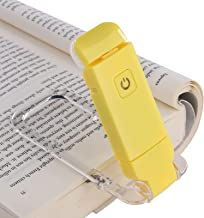 DEWENWILS Rechargeable Book Light for Kids, Warm White, Brightness Adjustable for Eye Care, LED Clip on Book Lights for Reading in Bed, Portable Bookmark Light, Yellow