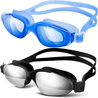 vetoky Swimming Goggles,Swim Goggles No Leaking Anti Fog UV Protection Wide View Mirrored Clear Lenses Swim Goggles for Adult Men Women Youth Kids