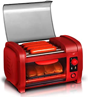 Elite Cuisine EHD-051R Hot Dog Toaster Oven, 30-Min Timer, Stainless Steel Heat Rollers Bake & Crumb Tray, World Series Baseball, 4 Bun Capacity, Red