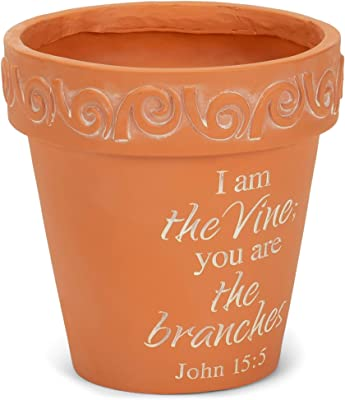 Dicksons I Am The Vine You are The Branches 4 x 4 inch Resin Flower Pot