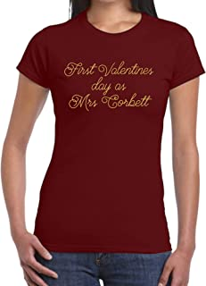 First Valentines Day As Mrs PERSONALISED NAME T Shirt, First Valentines Day, Custom Valentines Gift, Wedding Anniversary, EM149