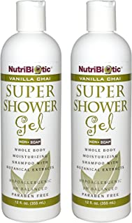 NutriBiotic Vanilla Chai Super Shower Gel (Pack of 2) with Matricaria, Cucumber, Comfrey and Grapefruit Seed Extract, 12 fl. oz.